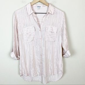 EXPRESS The City Shirt Pale Pink Striped Top S